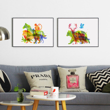 Watercolor Painting of A Superimposed Animal Abstract Art Canvas Prints Poster Image of Modern Home Office Room Decoration AN062