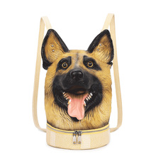 Fashion Personality 3D Solid lifelike Wolfhound Head Animal backpack Halloween Cool Travel Soft School Bags Teenage hiphop(China)