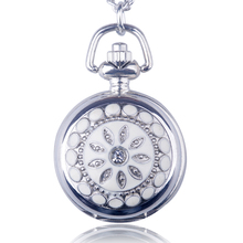 New Fashion Small Size Steel Crystal Quartz Pocket Watch Women Men Jewelry Pendant Necklace Gifts