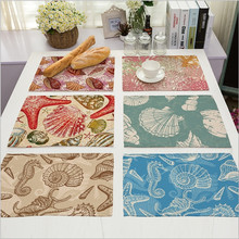 Hot Sale Conch Placemat Cotton Linen Drawing Table Mat Dishware coasters For Dinner Accessories Starfish Cup Wine mat