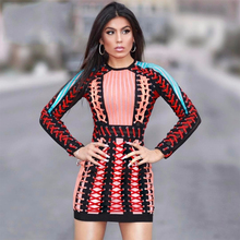 Buy 2017 Summer Bandage Dress Women Long Sleeve O-Neck Evening Party Blue Orange Handmade Cross Runway Bodycon Sexy Dress Wholesale for $102.77 in AliExpress store