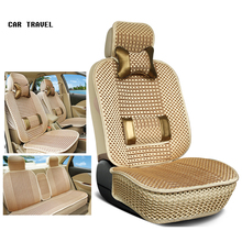 Luxury Car Seat Cushion Hand-woven Ice Silk with Wood Beads Car Seat Cover Summer Front&Rear 5 Seat Universal Car Seat Cushion(China)