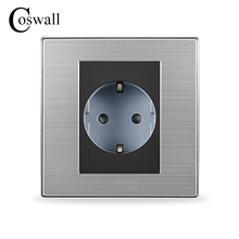 Coswall 16A EU Standard Wall Socket Luxury Power Outlet Enchufe Brushed Silver Panel Electrical Plug Soquete AC 110~250V