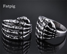 Fatpig Men Jewelry Rings Alloy Silver Color Men Women Skull Head Pattern Finger Rings Jewelry Accessory