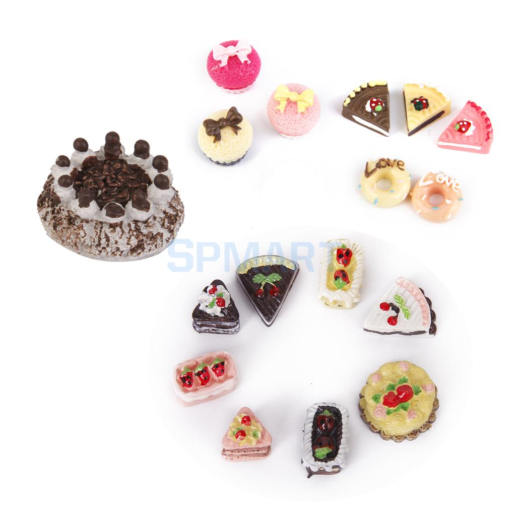 1//12 Dollhouse Miniature Food Chocolate Dessert Assorted Mixed Birthday Cake