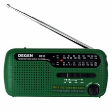 Degen DE13 Radio Crank Dynamo Emergency FM MW SW World Radio Receiver Solar FM Portable Recorder Green With 3 Led Lights A0798A