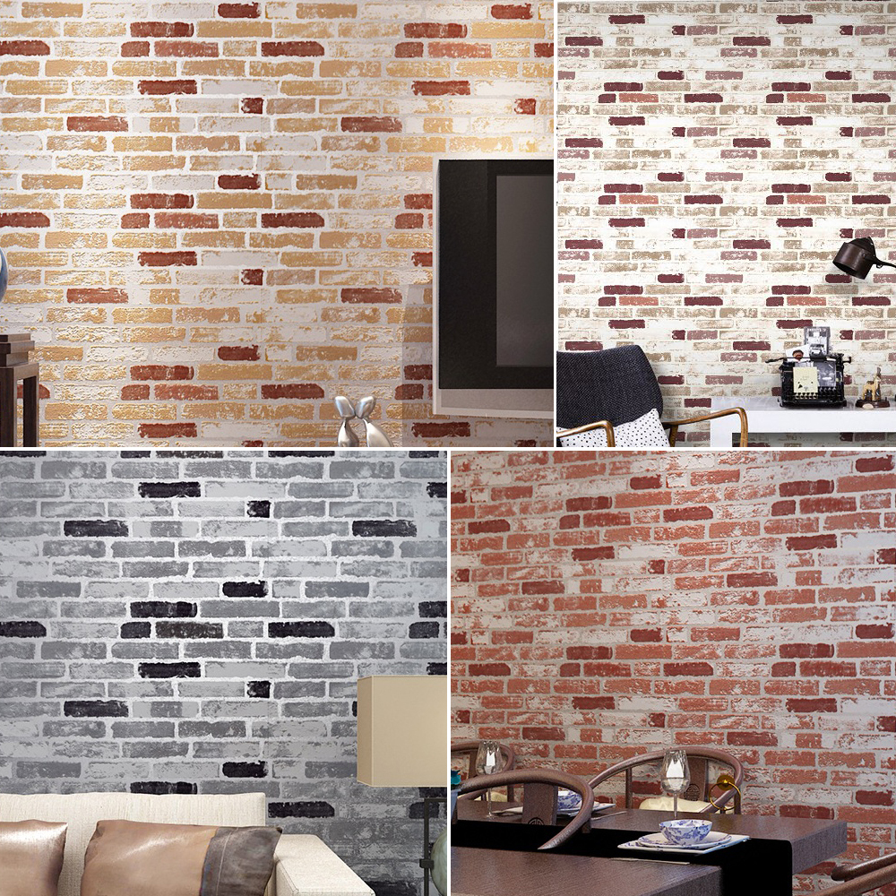 Haok Home PVC Vinyl Vintage Faux Brick Stone 3D Wallpaper Living room Bedroom Home Wall Decoration,0.53m*10m/roll<br>