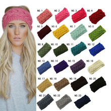 Knitted Turban Headbands Winter Warm For Women Crochet Head Wrap Wide Ear Warmer Hairband Girls Hair Accessories-MX8(China)