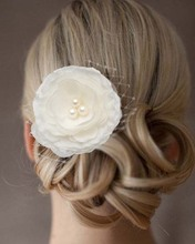 5 Pieces Big Blooming Silk Cream Flower Veil Pearl Hair Clip Wedding Bridal Bridesmaid Party Hairwear Jewelry