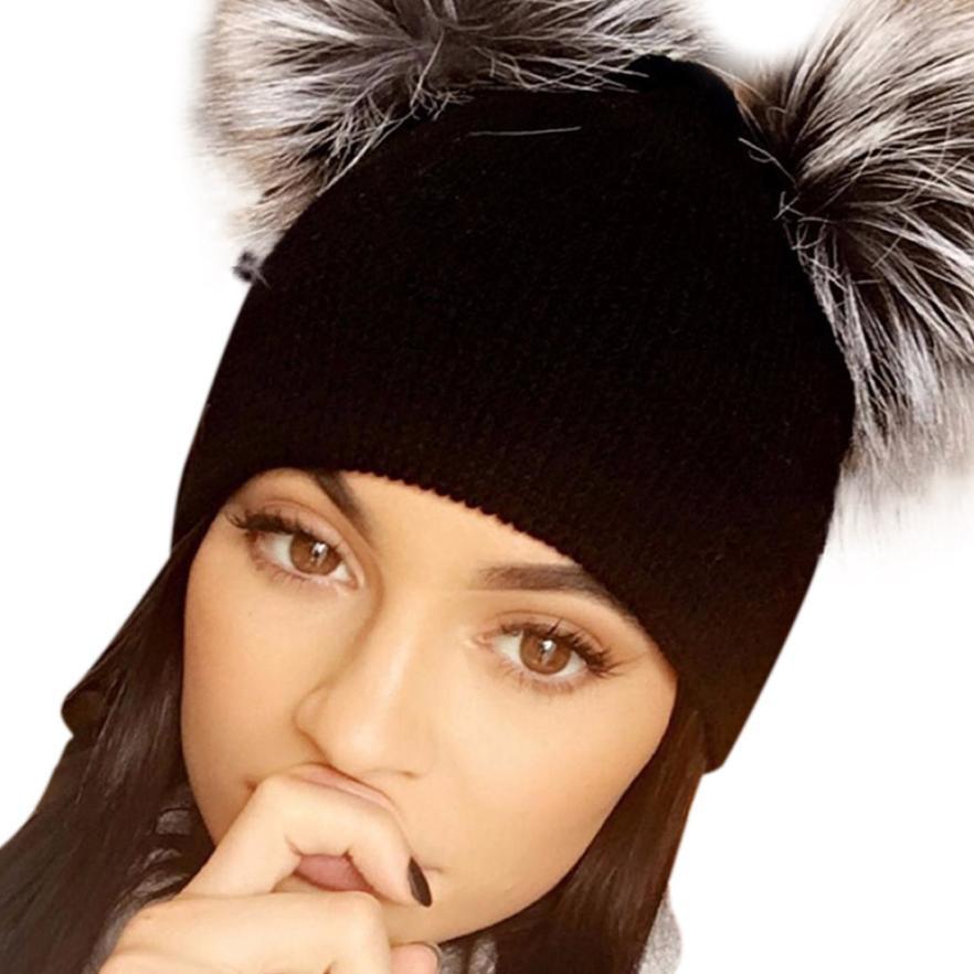 Beanie Women Double Fur Pompom Removable Ball Kawaii Women Knitted Winter Hats Warm Outwear Gorros Mujer Invierno#A11Îäåæäà è àêñåññóàðû<br><br><br>Aliexpress