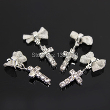 C74  10pcs/lot    Bow Tie  Cross Pendant 3D Alloy Nail Art  Cell Phone Sticker Decoration  DIY Rhinestone Cross Accessories