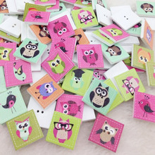20 pcs  Mix Square Owl Wood Buttons 20mm Sewing Craft Mix WB206