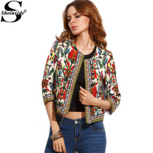 Sheinside Multicolor Winter Tribal Print Women Coats and Jackets Embroidered Basic Coats Vintage Autumn Long Sleeve Coat