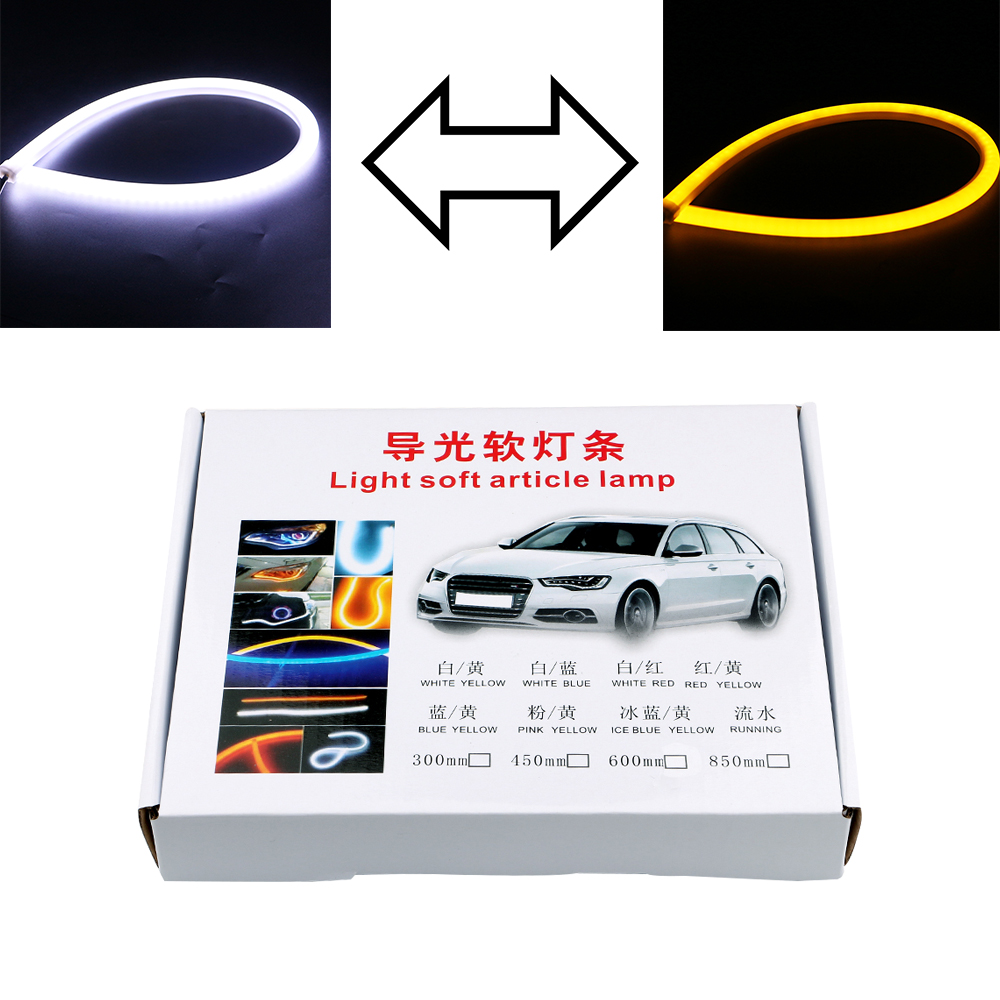 1Pair Car LED Flexible Strip Tears Light 60CM Daytime Running Lamp 3020 180 SMD DRL Turn Light White and Yellow Free Shipping<br><br>Aliexpress