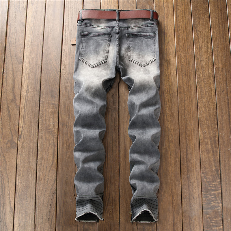 Biepa New Fashion Men's Ripped Motorcycle Denim Pants With Ankle Zipper Designer Distressed Biker Jeans Trousers Knee Holes 8