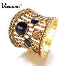 Viennois Gold/Silver Color Vintage Size Rings for Woman Black Enamel Crafts Wide Finger Rings Hollow Out Party Ring Jewelry(China)