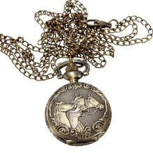 YCYC!5*Bronze 3 Horse Engrave Quartz Pocket Watch Necklace(China)