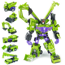WEI JIANG 5 in 1 Transformation Toy Boy Cool Big Size 42CM Anime Devastator Robot Action Figures Engineering Truck Juguetes Gift(China)