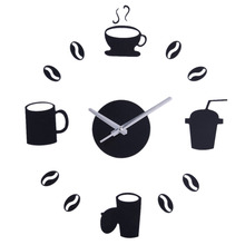 Coffee Cup Pattern Crystal Round Digital Acrylic DIY Wall Clocks Modern Quartz Wall Clock Home Decor DIY Combination Hot Sale!(China)