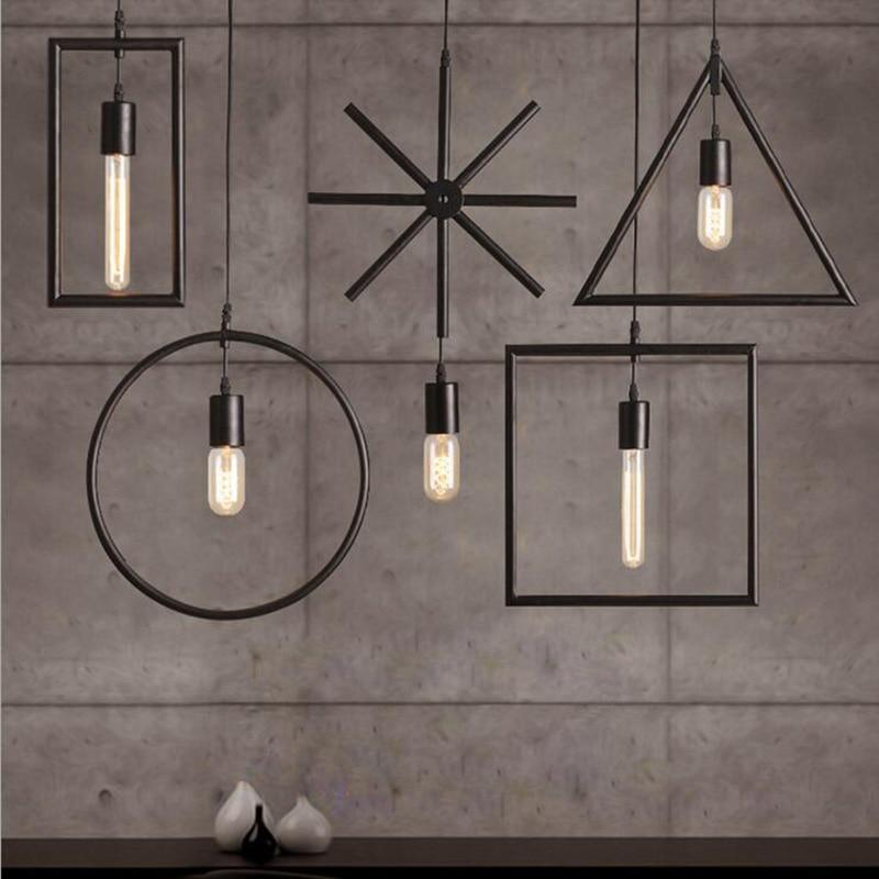 Loft Simple Creative Geometry Industrial Wind Chandelier Simple Style iron Restaurant Chandelier E27 Edison Bulb 110-220V<br>
