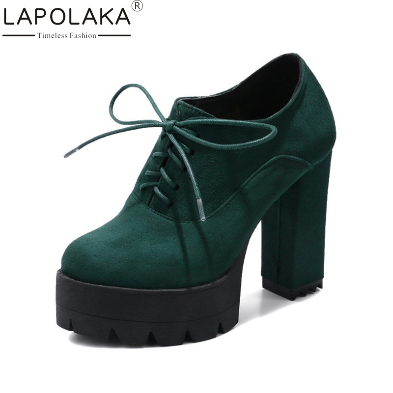 LAPOLAKA Top Quality size 33-41 Green Red Black Platform Lace Up Spring Autumn Pumps Fashion Square High Heeled Women Shoes<br>