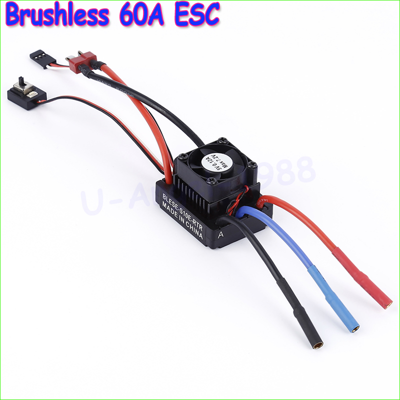 Wholesale 1pcs Brushless 60A ESC Electric Speed Control with a Fan for 1:10 Rc Car<br><br>Aliexpress