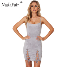 Buy Nadafair Spaghetti Strap Backless Lace-up Sheath Sexy Club Bodycon Suede Dress Casual Women Mini Party Dresses for $12.55 in AliExpress store