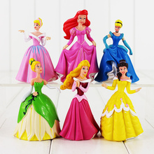 6Pcs 9cm anime princess Mermaid Cinderella tinkerbell PVC figure toy Gift for Christmas(China)