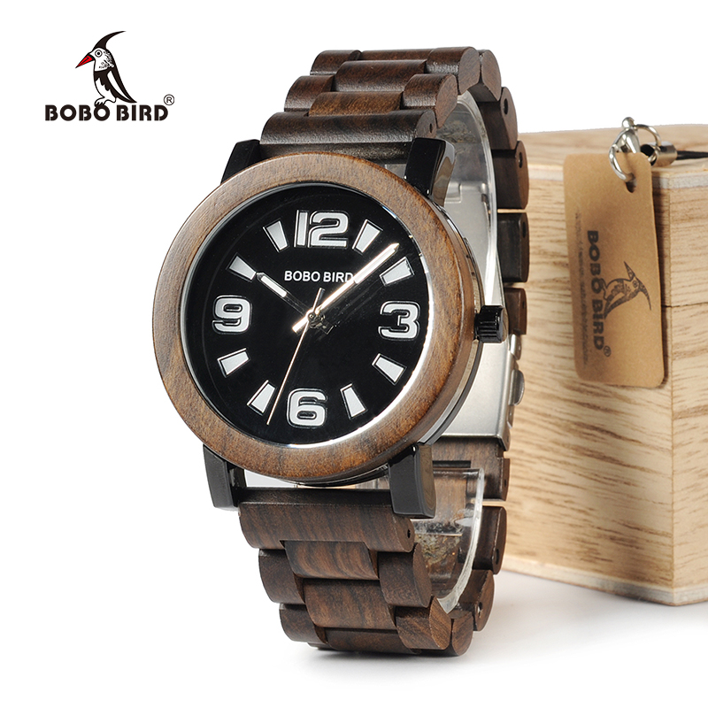 BOBO BIRD WO21O22 Fashion Wooden Metal Watches for Men with Big Number Wood Band Quartz Watch in Wooden Box<br>