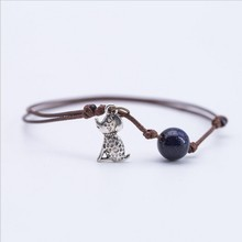 Free shipping! Wax rope Student animal dog pendant girlfriend wild shiny Sky star round beads summer personality bangle bracelet(China)