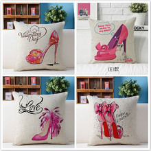Free shipping/fashion beautiful high heels illustration 43 * 43 cotton and linen hold pillow cushion for leaning on No Inner