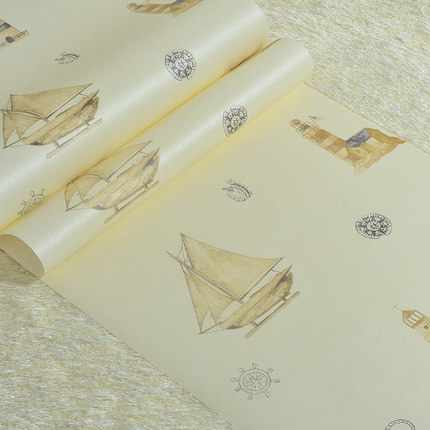 Non-woven Mediterranean  wallpaper childrens room yellow sailboat wallpaper boys and girls bedroom bedside study<br><br>Aliexpress