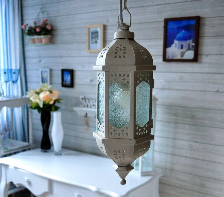 Morocco Glass Balcony Chain Pendant Light White Hollow Iron Tower Free Shipping Romantic Corridor Pendant Light<br><br>Aliexpress