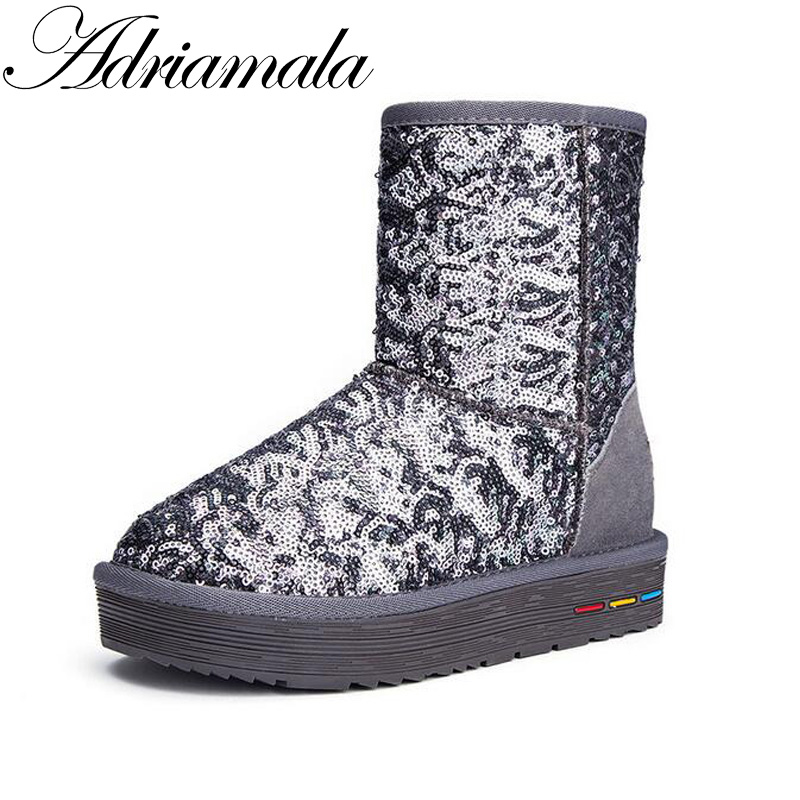 Adriamala 2016 Snow Boots Fashion Shoe Cow Split Sequins Female Ankle Boots Thick Bottom Flat With Round Toe Winter Boots Warmer<br>