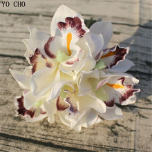 6 head wedding decoration mariage Orchid artificial flower decorative silk voilet bridal bouquet home decoration accessories