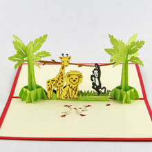 Cubic life lovely zoo three-dimensional greeting card birthday gift idea custom wish children Korea(China)