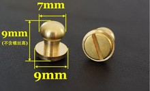 50pcs/lot High Quality  7mm Stud Screw Round Head Solid Brass Nail Leather Screw Rivet Chicago Button For DIY Leather Decoration