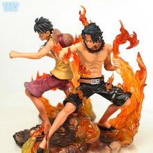 2PC/lot One Piece Action Figure Luffy Ace Decoration Figures 15cm PVC model Toys for kids Best Collection Gifts with retail box