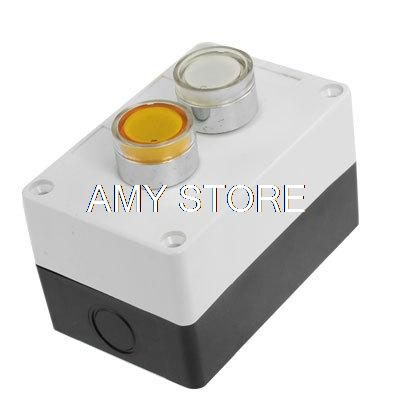 AC 220V Yellow White Signal Lamp NO Momentary Push Button Switch Control Box<br><br>Aliexpress