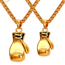 U7 Boxing Glove Necklaces & Pendants Gold Color Stainless Steel Fitness Sport Men Jewelry Sale P905(China)