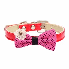 Small Dog Collar Polka Dots Bow Leather Pet Collar Lovely Puppy Choker Cat Necklace Dog Supplies Best Gift for Small Dogs