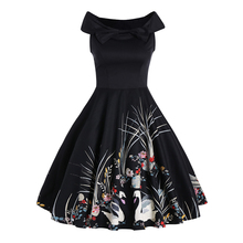 Wonder beauty Summer Women Vintage Dress Swan Print Robe 50s Audrey Hepburn Short Sleeve Female Ball Gown Party Dresses Vestidos