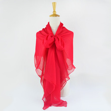 100% Silk Crinkle Georgette Long Scarf 110cmX180cm Pure Silk Scarf Women Plain Color Big Size Chiffon Scarf China Red(China)
