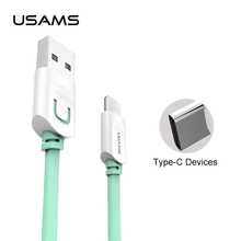 USAMS USB type-C cable Flat Type-C USB charger cable for Samsung s8 s8 plus Huawei P10 P9 OnePlus2 Nexus 5 5X 6P for MEIZU pro 6