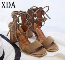 XDA 2017 Sexy Women Pumps Open Toe Lace up Heels Sandals Woman sandals Thick with Women Shoes women High heels X357(China)
