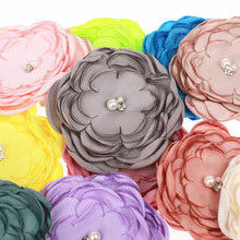 "20pcs 3.5"" Burned petal satin fabric flower with pearl Rhinestone flower head for headwear headband flower accessories flat back(China)"