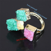 Hot Sale Natural Druzy Stone Rings Square Shape Colorful Drusy Quartz Rings Druzy Statement Finger Rings(China)