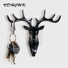 VDHJUK Deer Head Animal Self Adhesive Clothing Display Racks Hook Coat Hanger Cap Room Decor Show Wall Bag Keys Sticky Holder
