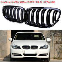 Gloss Black M3 Look Double Line Front Bumper Kidney Grille Grills For BMW 3-Series E90 Sedan 2008-2011 Facelift Racing Grills
