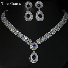 ThreeGraces Gorgeous Silver Color CZ Large Royal Blue Water Drop Necklace Earrings African Jewelry Sets For Brides JS029